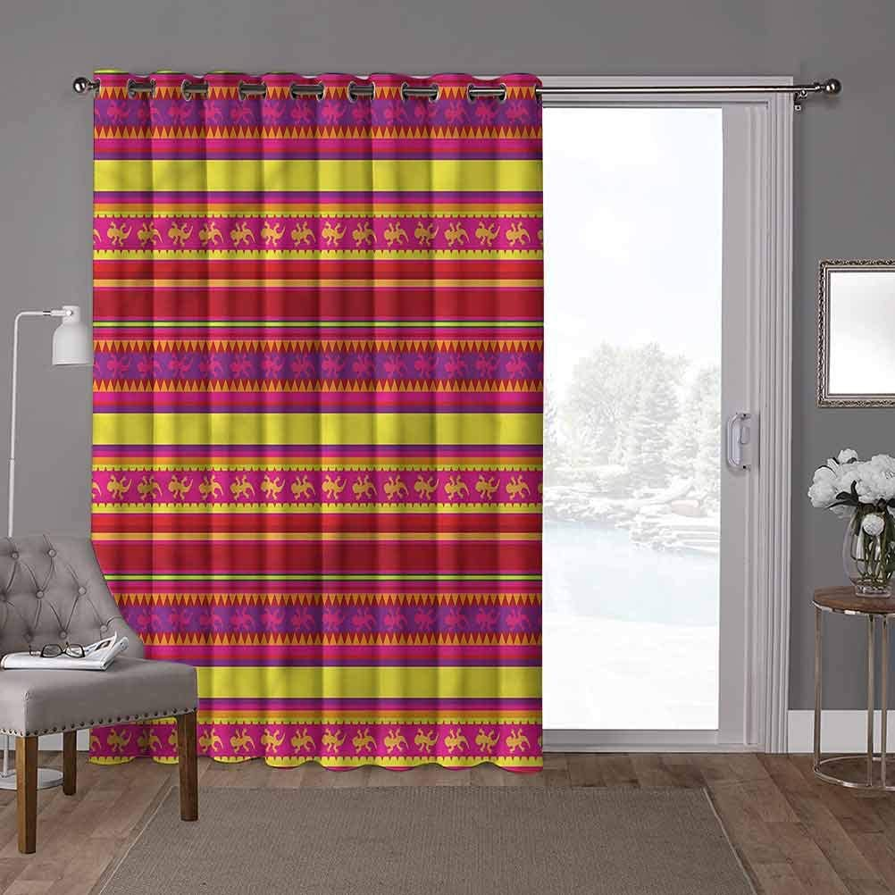 YUAZHOQI Thermal Blackout Patio Door Curtain Panel, Mexican,Vibrant Lizard Folklore, W100 x L96 Inch Home Decor Modern for Kids Nursery(1 Panel)