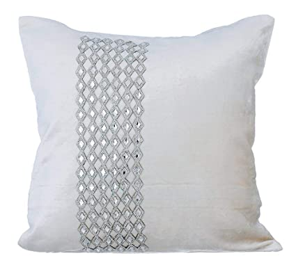 Amazon Designer White Throw Pillow Covers Sparkly Rhinestone Stunning Rhinestone Decorative Pillows