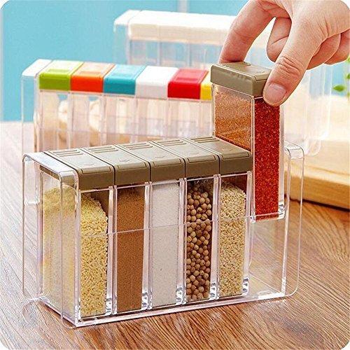 r Seasoning Bottle Spice Rack Holder Jar Condiment Storage Container with Tray for Salt Sugar Cruet, Kitchen Condiment Bottles Box,Multi Color ()