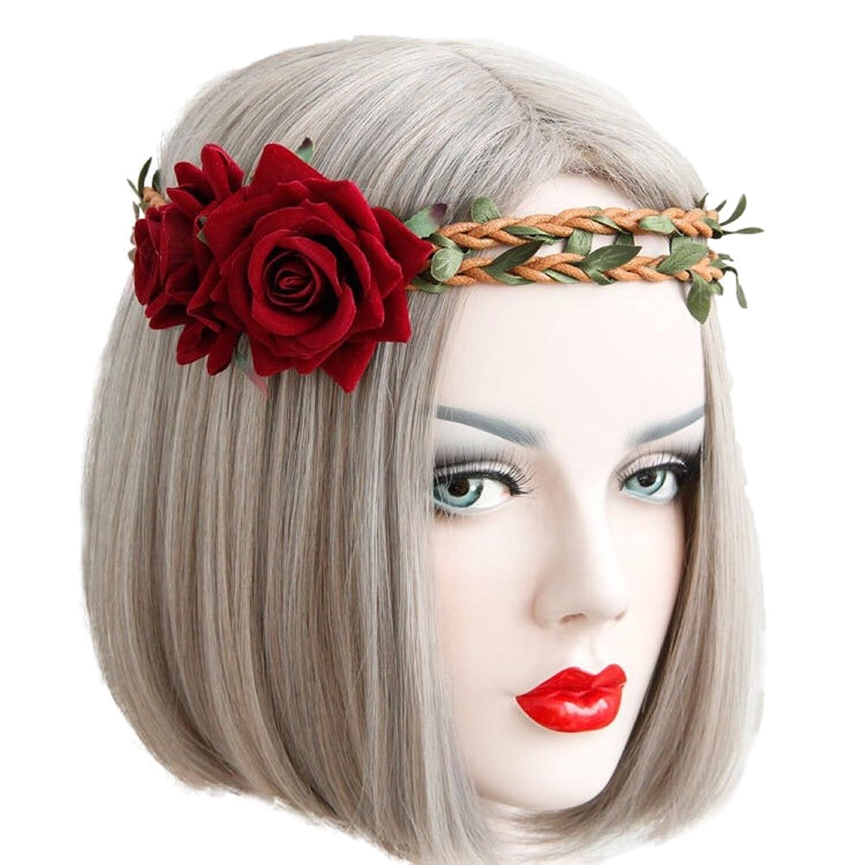 LD DRESS Red Rose Headband Masquerade Headdress