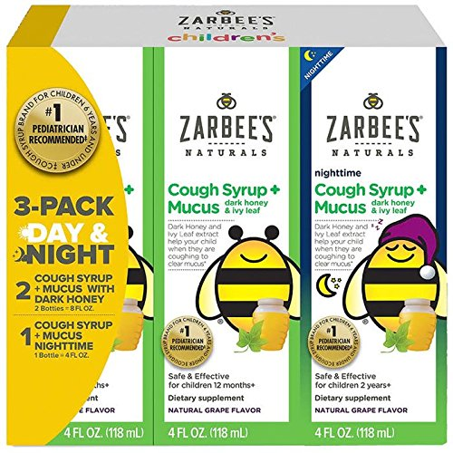 - Zarbee's Child Natural Cough Syrup 3-day Pack Day/night Dk Honey Mucus Relief - 4 oz each (12 oz total)