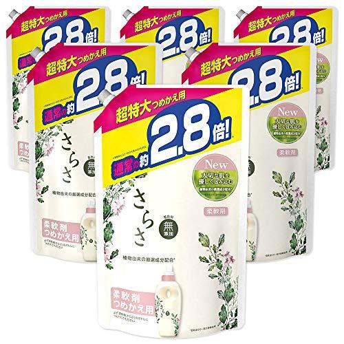 사라사 무첨가 식물 유래 성분 유연제 리필용 1250mL(약2.8배)×6 포