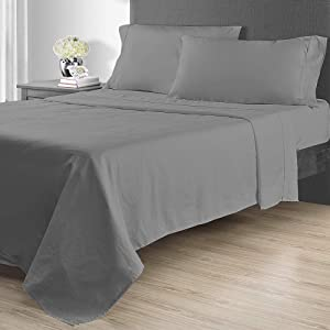 Sunham Home Fashions 1400 TC Sheet Set, Queen, Dark Grey