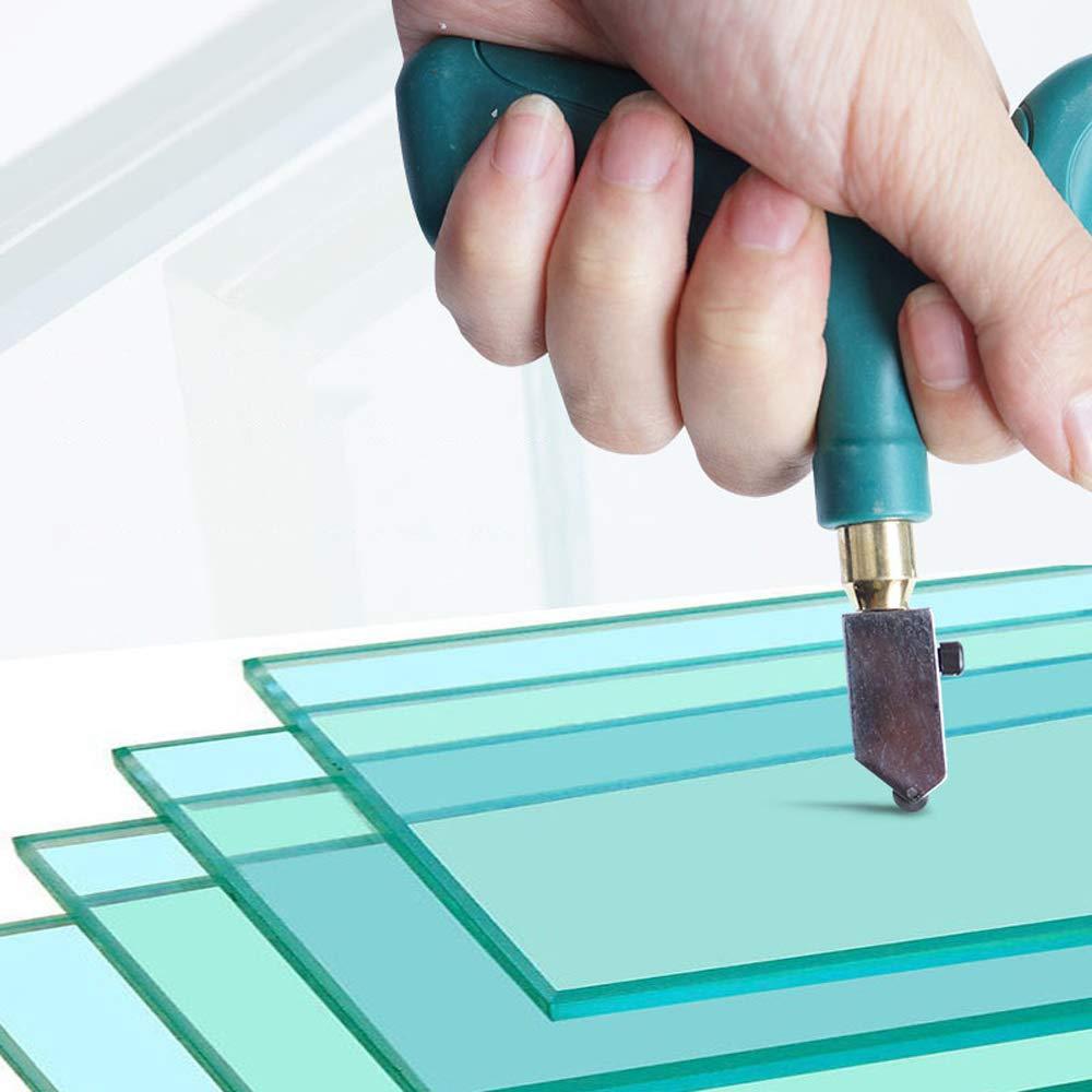 KKmoon Tagliavetro Professionale Specchio e Piastrelle di Ceramica Taglia Vetro per Vetri con Extra Sostituibile Testa Tagliavetro per Vetro