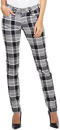 I do do jeans Pantalones Cuadros Estilo Slim para Mujer Pantal/ón de Tart/án Pitillo Negro y Blanco