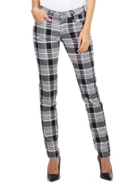 992828f485a I do do jeans Pantalones Cuadros Estilo Slim para Mujer Pantalón de Tartán  Pitillo - Negro y Blanco  Amazon.es  Ropa y accesorios