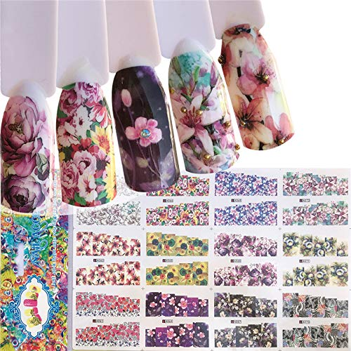 JACA 4 Sheets 48 pattern Water Transfer DIY Nail Art Decals Stickers With Butterfly flower Animal Insect beauty girl cartoon and different patterns for women and kids