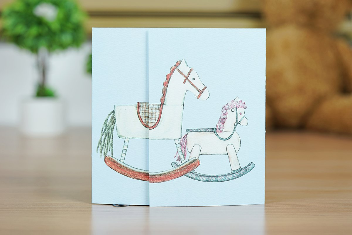 Baby Shower Congratulations Greeting Card, Baby Shower 3D Pop Up Card, Stroller, New Baby Greeting Pop Up Card, Baby Stroller Card
