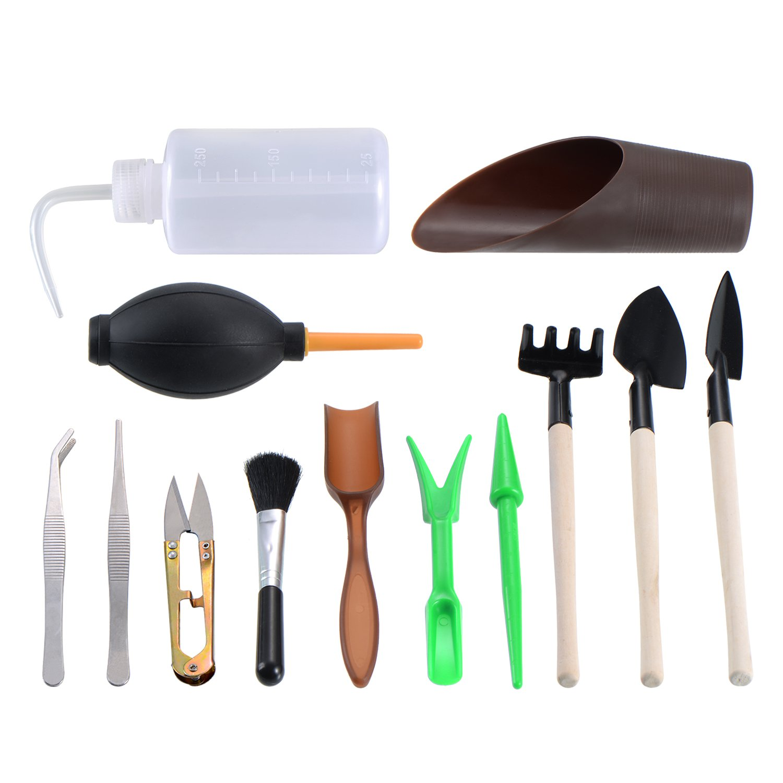 EBoot 13 Pieces Mini Garden Hand Tools Transplanting Tools Succulent Tools  Miniature Planting Gardening Tool Set