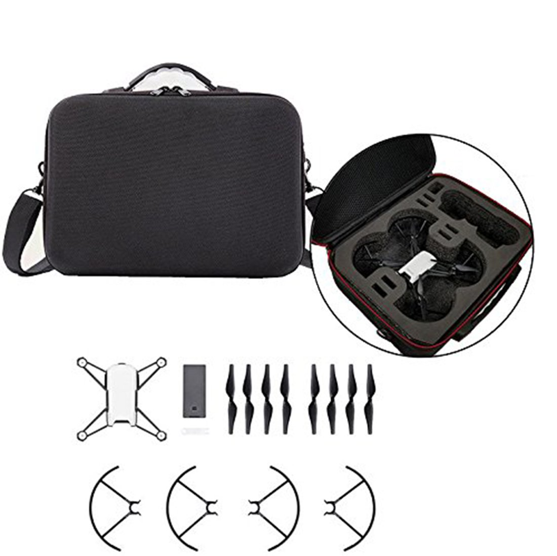 Tineer Waterproof Storage Shoulder Bag Hard Carry Case for Tello Drone and Accessory