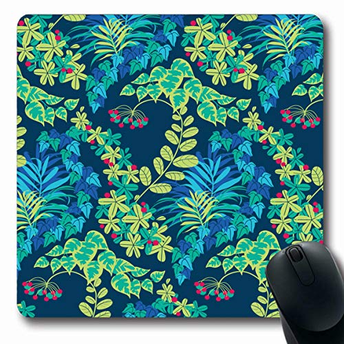 LifeCO Computer Mousepad Brazil Aquamarine Green Blue Navy Jungle Foliage Abstract Parks Berry Dark Exotic Floral Design Tile Oblong Shape 7.9 x 9.5 Inches Oblong Gaming Non-Slip Rubber Mouse Pad Mat