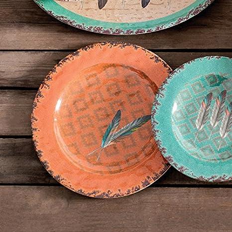 Amazon Com Hiend Accents Feather Southwestern 4 Pc Melamine Dinner Plate Set 11 Diameter Terra Cotta Turquoise Home Kitchen