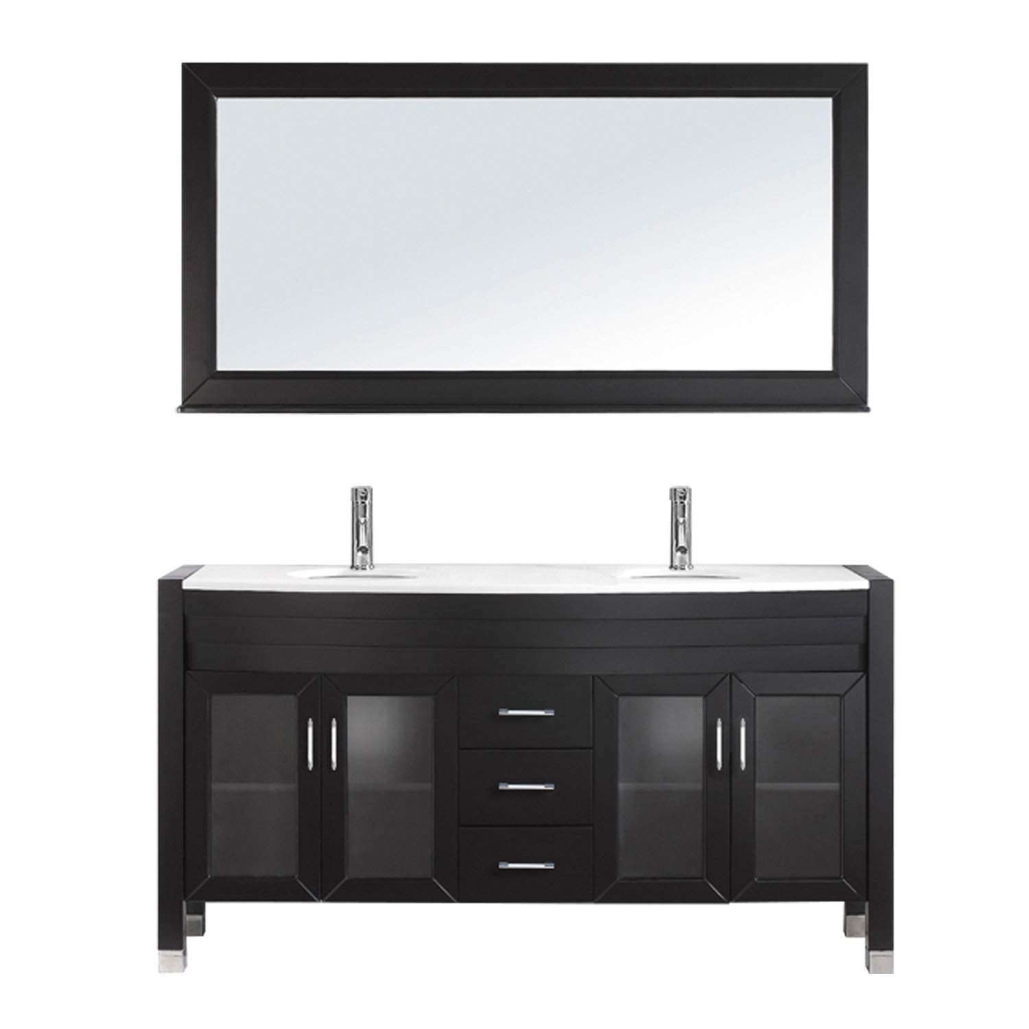 Virtu USA Ava 63 inch Double Sink Bathroom Vanity Set in Espresso w// Integrated Round Sink White Engineered Stone Countertop 1 Mirror Single Hole Polished Chrome MD-499-S-ES