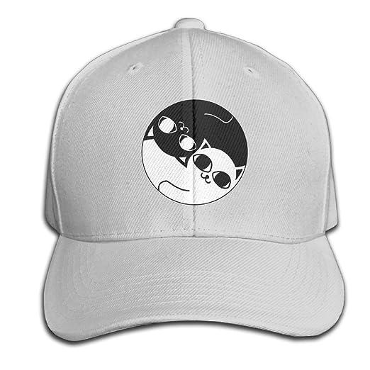 fe1b3b74978 Mr.Roadman Unisex Peaked Cap Ying Yang Black and White Cat Logo Baseball Hip -