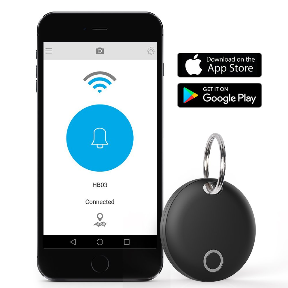 Bluetooth Key Finder, DinoFire Phone Finder Wallet Locator Finder, IP66 Waterproof Bluetooth Tracking Device Item Finder Anti Lost Alarm with Selfie Shutter for Apple iOS/Android Phone Tablet (Black)