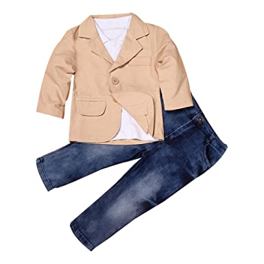 f442ccfc29 Clode® for 2-8 Years Old Boys, 3pcs Kids Baby Boy Gentleman  Coat+Shirt+Jeans Pants Trousers Clothes Outfits Set