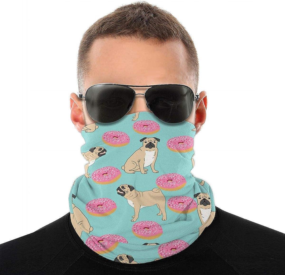Alysai Pug Donuts Bandana Face Mask Unisex Microfiber Neck Warmer Gaiter para travling