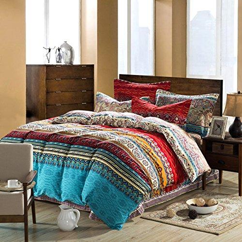 TheFit Bohemia Bedding Set for Adult T144 Boho Duvet Cover Set 100% Sanded Cotton, Queen King Set, 4 Pieces (King)