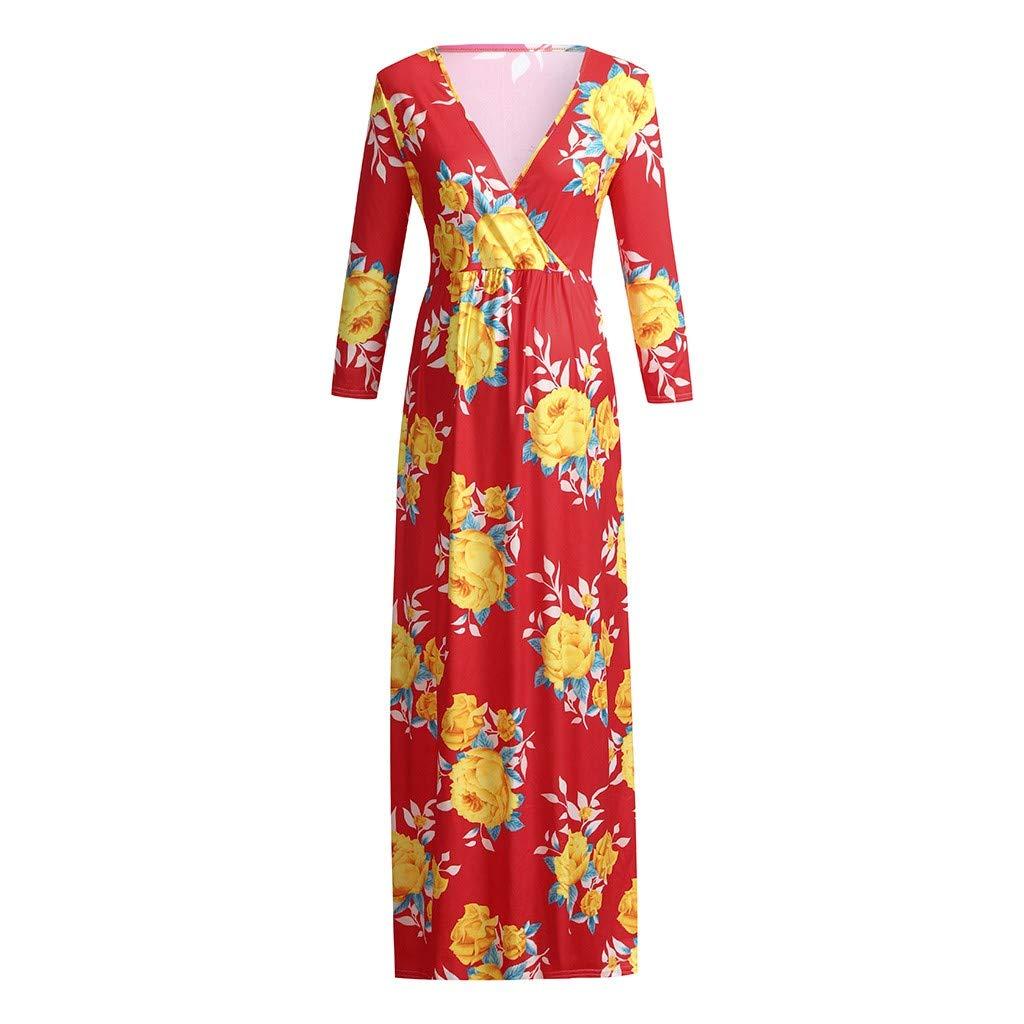 Pregnant Dresses, Women Maternity Floral Printed V Collar Long Sleeve Loose Nursing Long Dress Gown (L, Red)