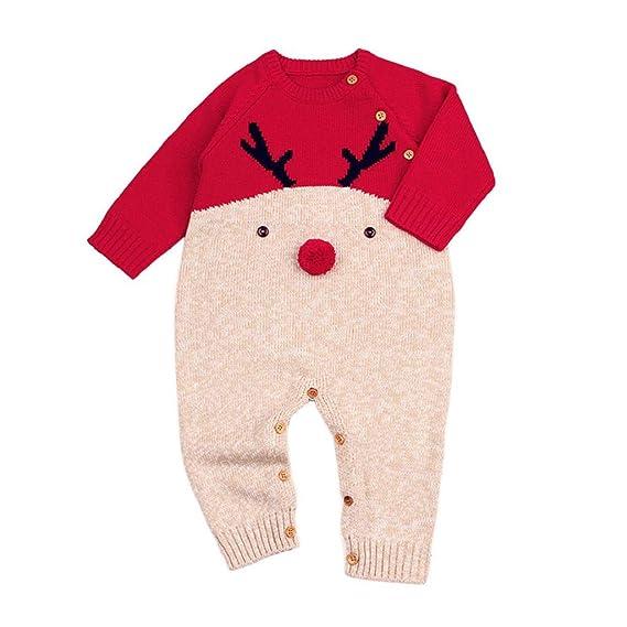 QUICKLYLY Peleles Navidad Bebé Niño Niña Crochet Punto Recién Infantil Largo Manga Mono Ropa (Rojo, 12~18 Meses(90))…