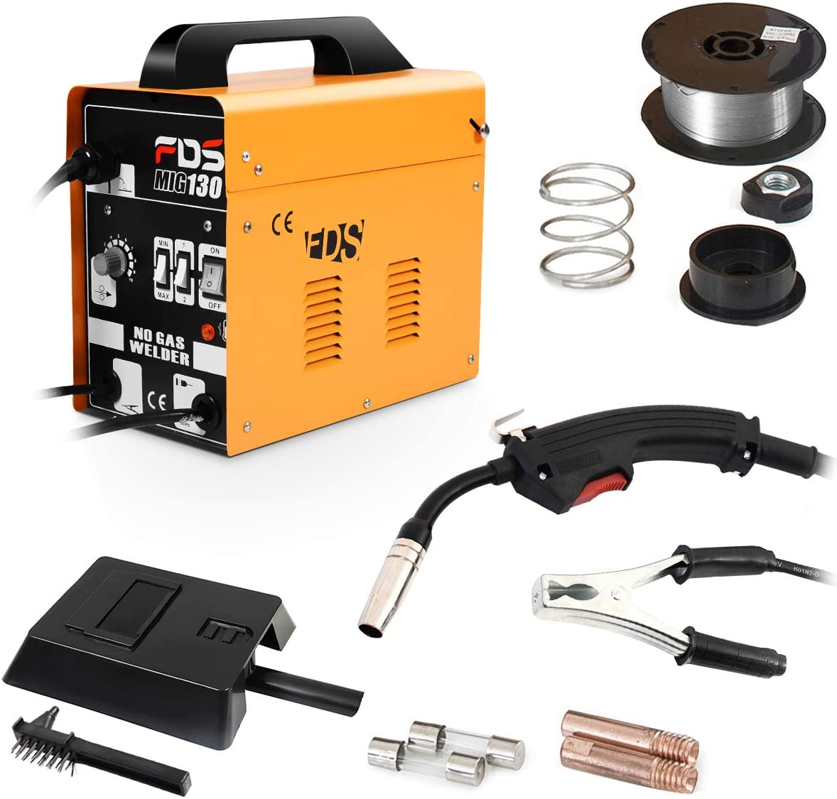 COSTWAY M/áquina de Soldadura FLUX Gas Inerte MIG 130 Electrodos Soldador Negro