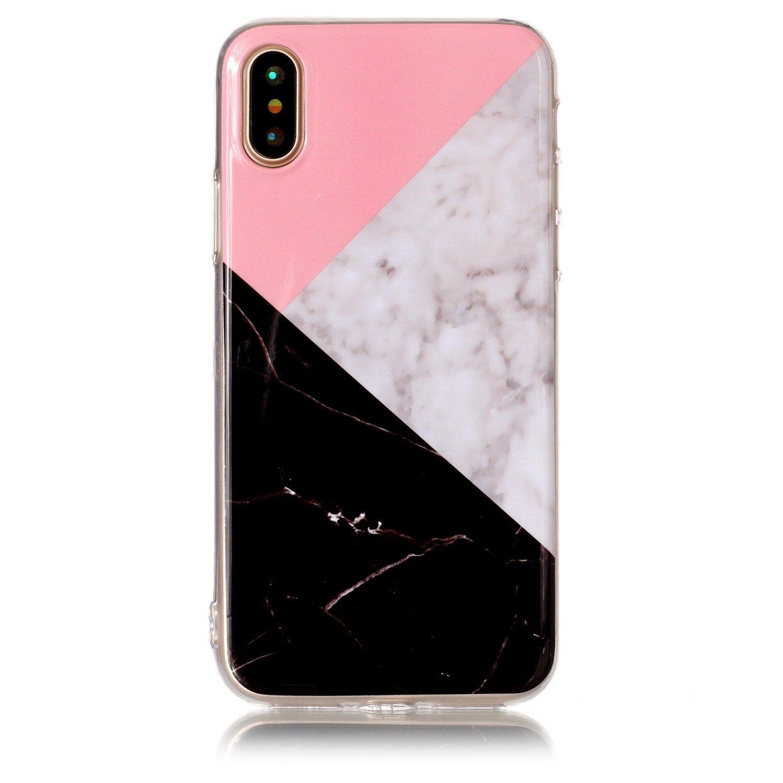iPhone X Marbleケース、RAGETORCレディーススリムフィットアンチスクラッチショックプルーフ[Stone Texture Collection] iPhone 10用TPUソフトケース(ピンク+ホワイト+ブラック)   B0759X3XN7