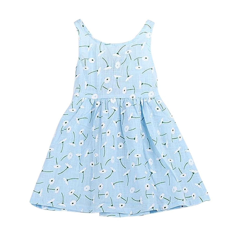 1pc robe pour 1-7 ans fille, Transer Enfants filles robe sans manches pissenlit imprimer bowknot Tutu robe été