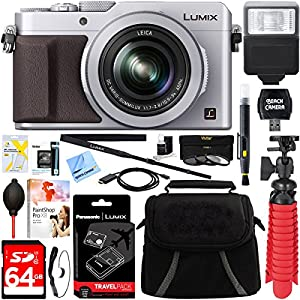 Panasonic LUMIX LX100 Integrated Leica DC Lens Silver Camera + DMW-BLG10 & DMW-BTC9 Battery/Charger Pack + 64GB SDXC Memory Card + Gadget Bag + 43mm Deluxe Filter Kit + Microfiber Cloth + Tripod+More
