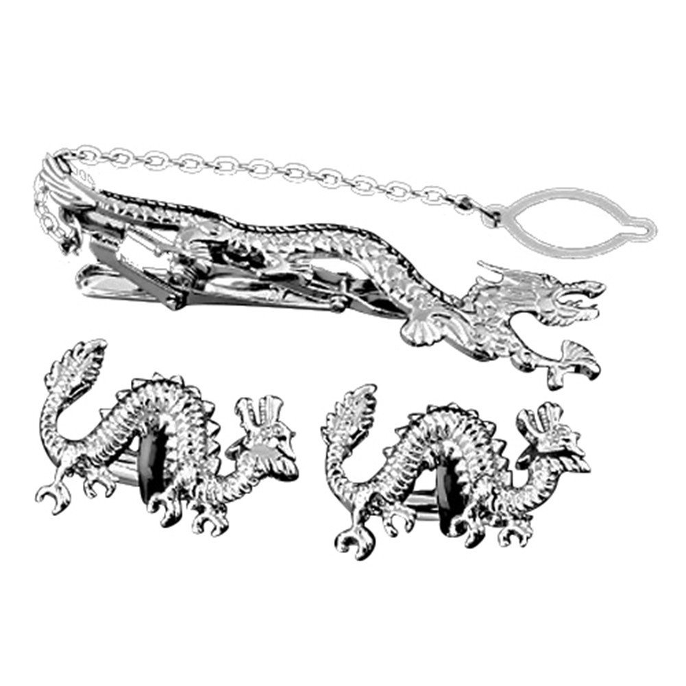 MGStyle Cufflinks Tie Clip Set For Men - Dragon - Silver Tone - Metal Alloy with Deluxe Gift Box