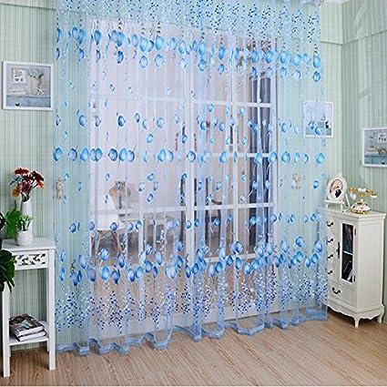 Zibuyu Voile Tulip Flower Sheer Curtain for Window Curtain Door (Blue)