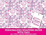 Pink Happy 18th birthday Personalised Wrapping Paper baby - 590mm x 840mm