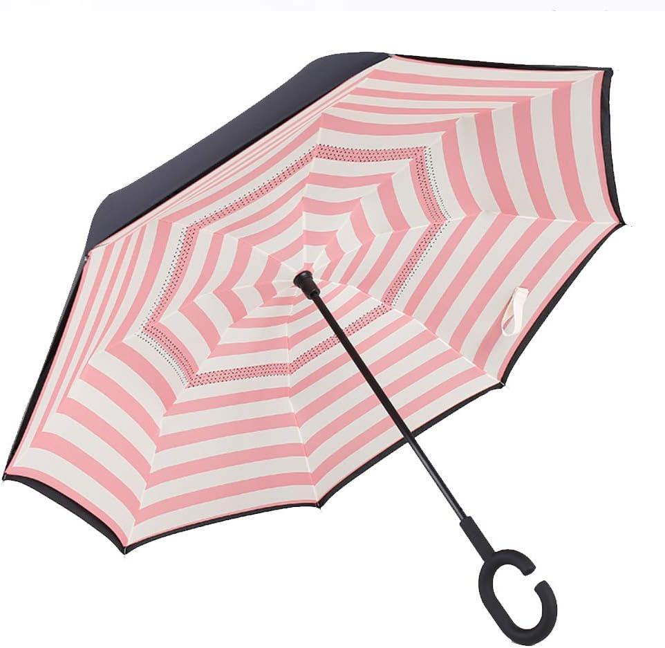 XdiseD9Xsmao Mango En Forma De C Paraguas Recto Inverso Duradero Portátil Anti-UV A Prueba De Viento A Prueba De Lluvia Lluvia Sombrilla 12#