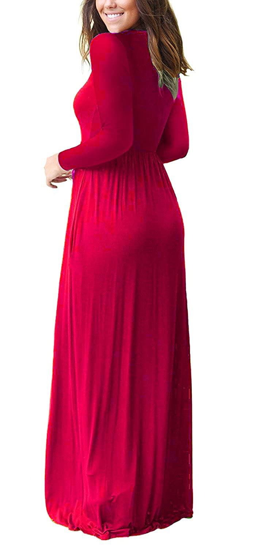 1e1e22b96 AUSELILY Women Long Sleeve Loose Plain Maxi Dresses Casual Long Dresses  with Pockets