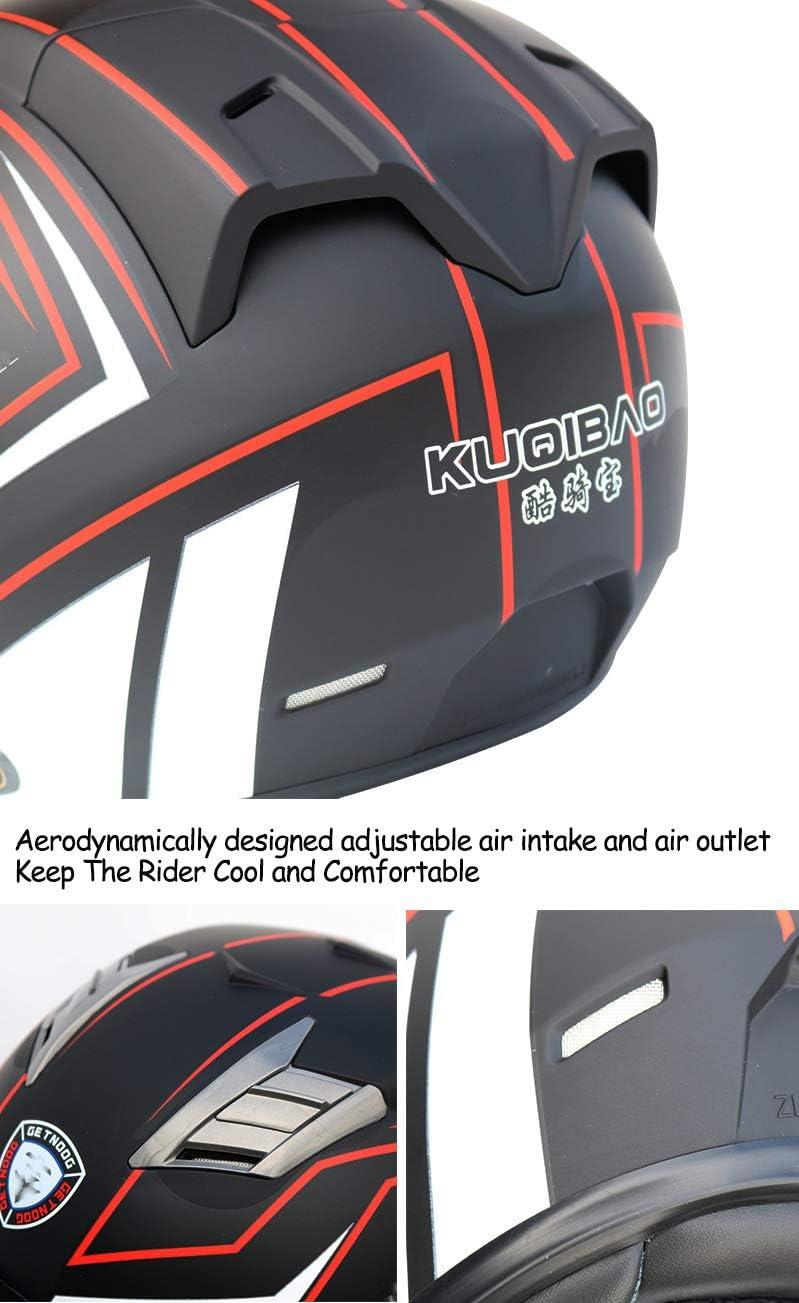 FLYFEI Casco Moto Integrato Bluetooth 5.0/Casco Integrale per Adulto/Batteria da 3000mAh Incorporata/Standby per 60 Giorni E Riproduzione Musicale Fino A 80 Ore,Black,L
