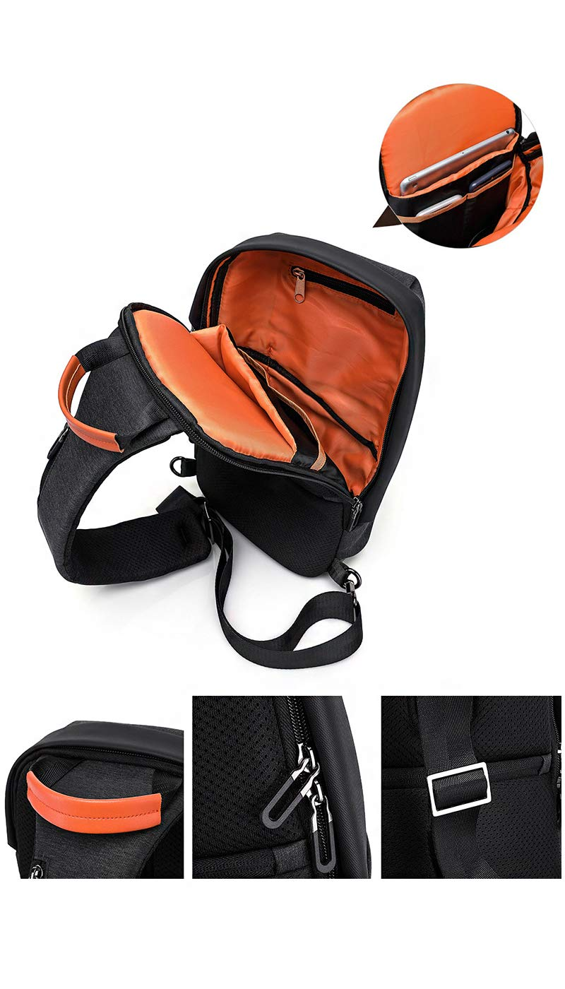 Mans Chest Bag Large Capacity Travel Business Outdoor Backpack Leisure Sports Shoulder Bag Mans Messenger Bag,Black