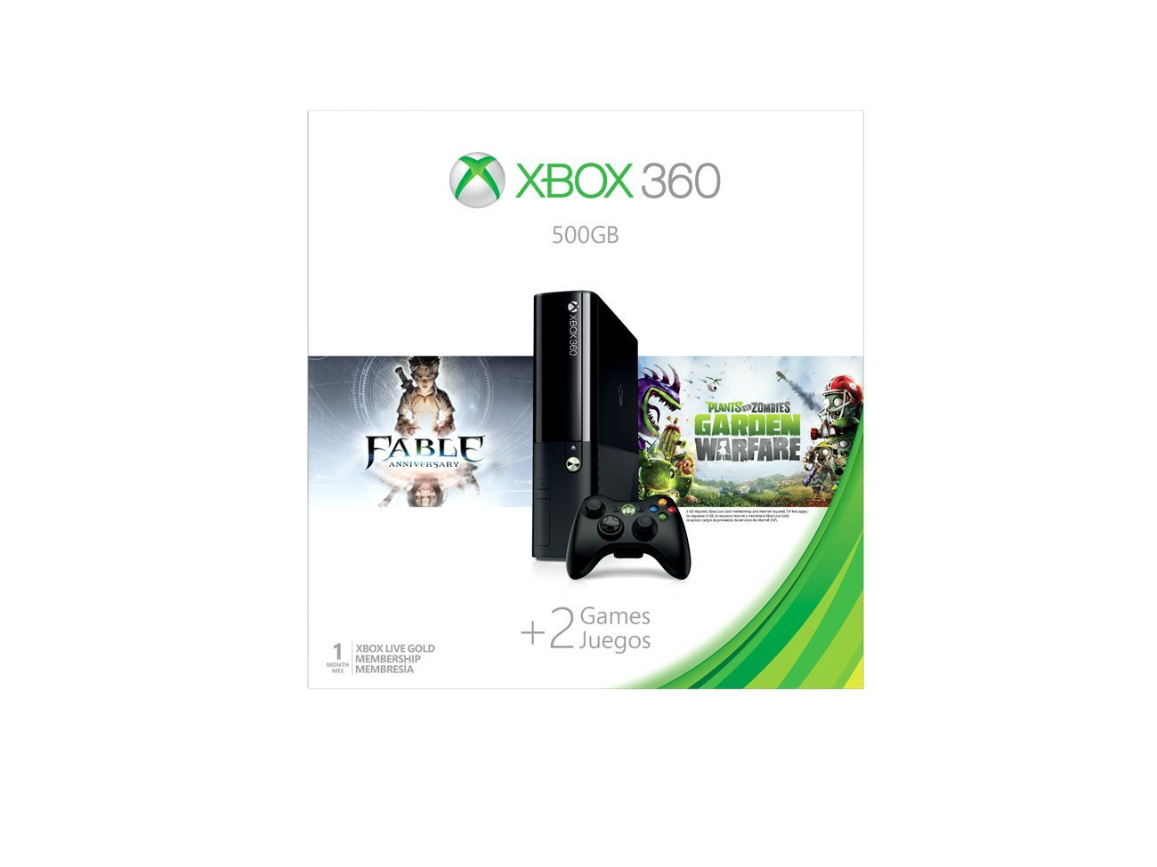 Xbox 360 500GB Console - Fable Anniversary and Plants vs Zombies: Garden Warfare Bundle