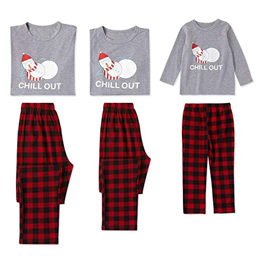 Amazon.com  PatPat Family Matching Christmas Pajamas Set Sleeping with  Snowman Print Top and Colored Pants PJS Sleepwear for Kids Adult  Clothing cf00c5adc