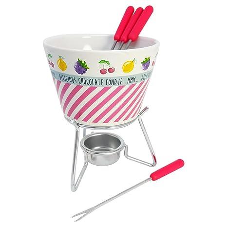 COM-FOUR® Juego de fondue de cerámica en diferentes colores, con 4 tenedores