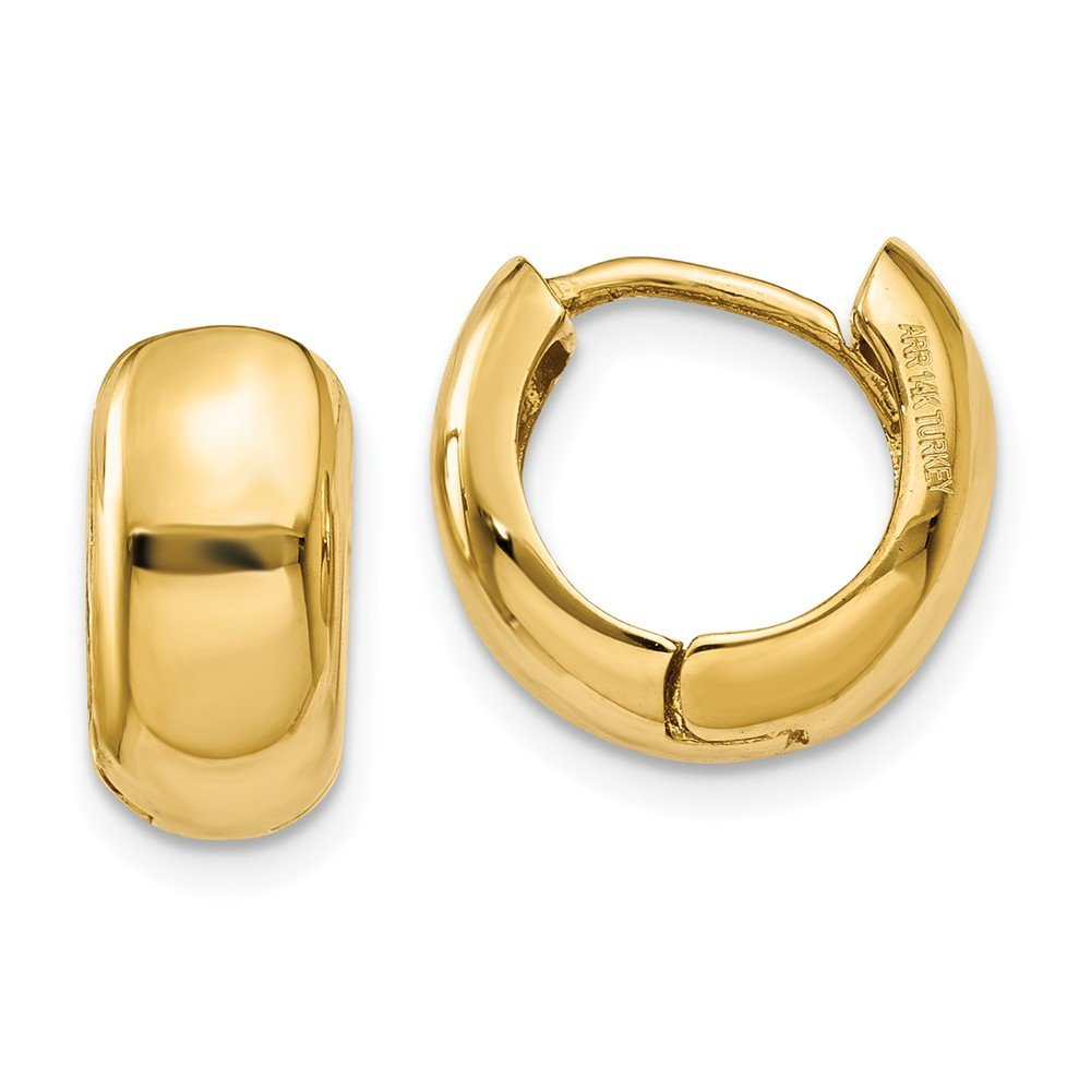 14k Yellow Gold Small 0.5inch Hinged 0.3IN Hoop Huggie Style Earrings (0.4IN x 0.4IN)