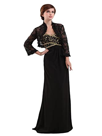 Angel Formal Dresses Sweetheart Long Lace Jacket Chiffon Evening Dress (2, Black)