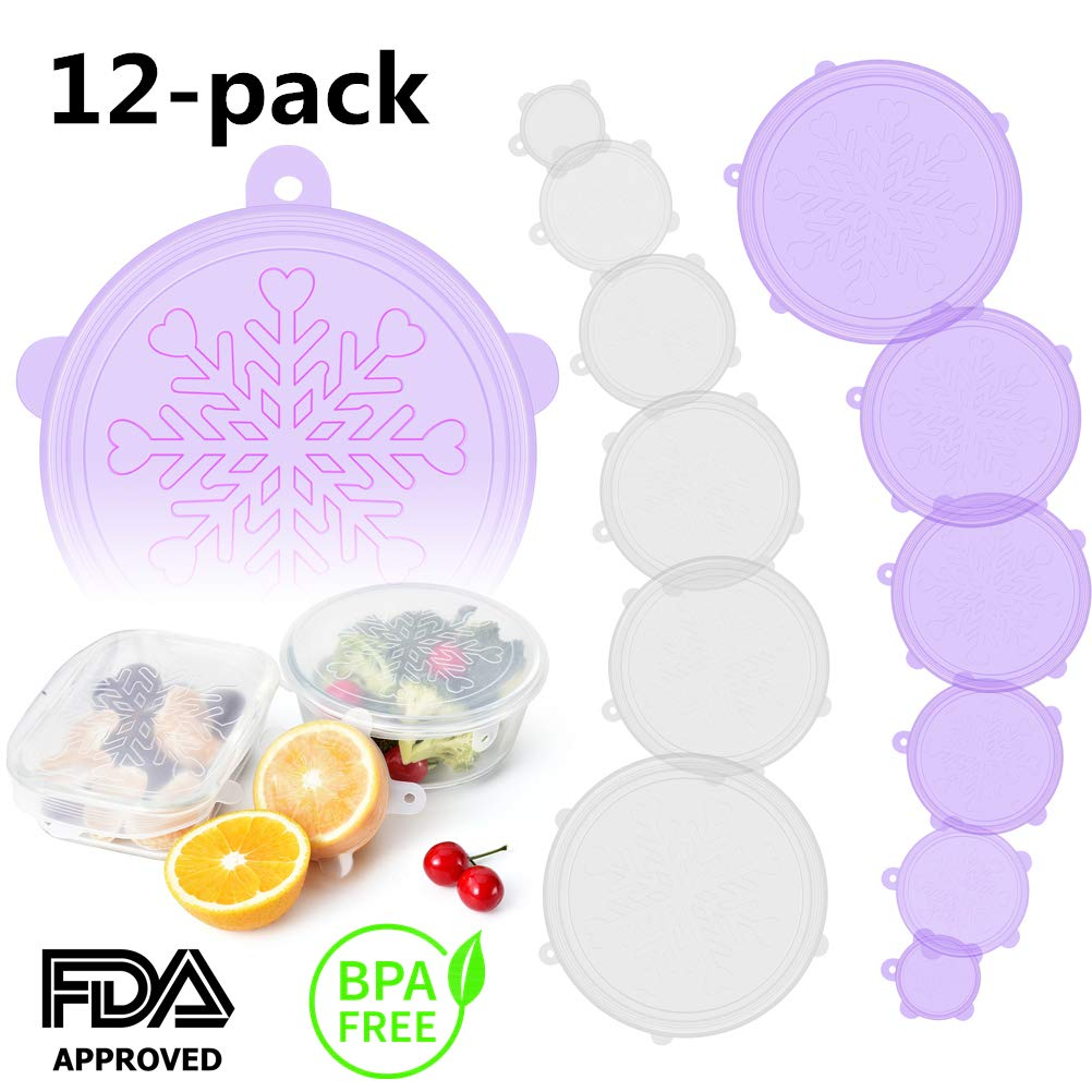 Silicone Stretch and Seal Lids, Bpa-Free Silicone Seal Lids and Bowl Elastic Reusable Covers for Coffee Mug, Jar, Can and More Kitchen Container - 12 Pack of Clear White and Purple 【Snowflake】 Lids