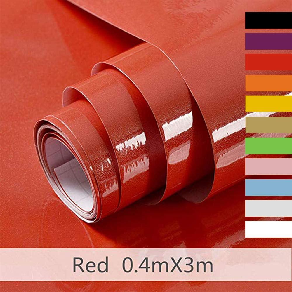 Hode Vinilos Adhesivo para Muebles Puertas Ventanas Papel Adhesivo para Muebles Pegatina de Vinilo Adhesivo Muebles Rojo 40X300cm