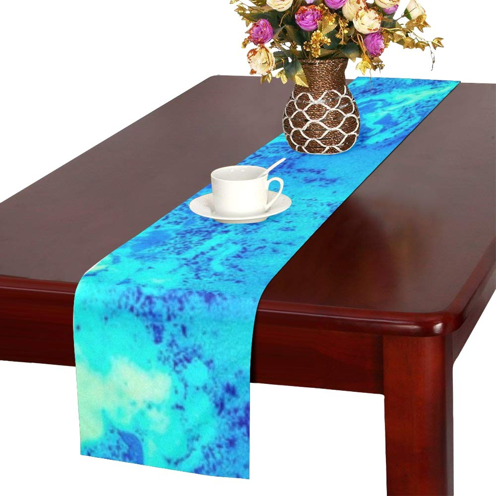 Jnseff Water Blue Green Table Runner, Kitchen Dining Table Runner 16 X 72 Inch For Dinner Parties, Events, Decor