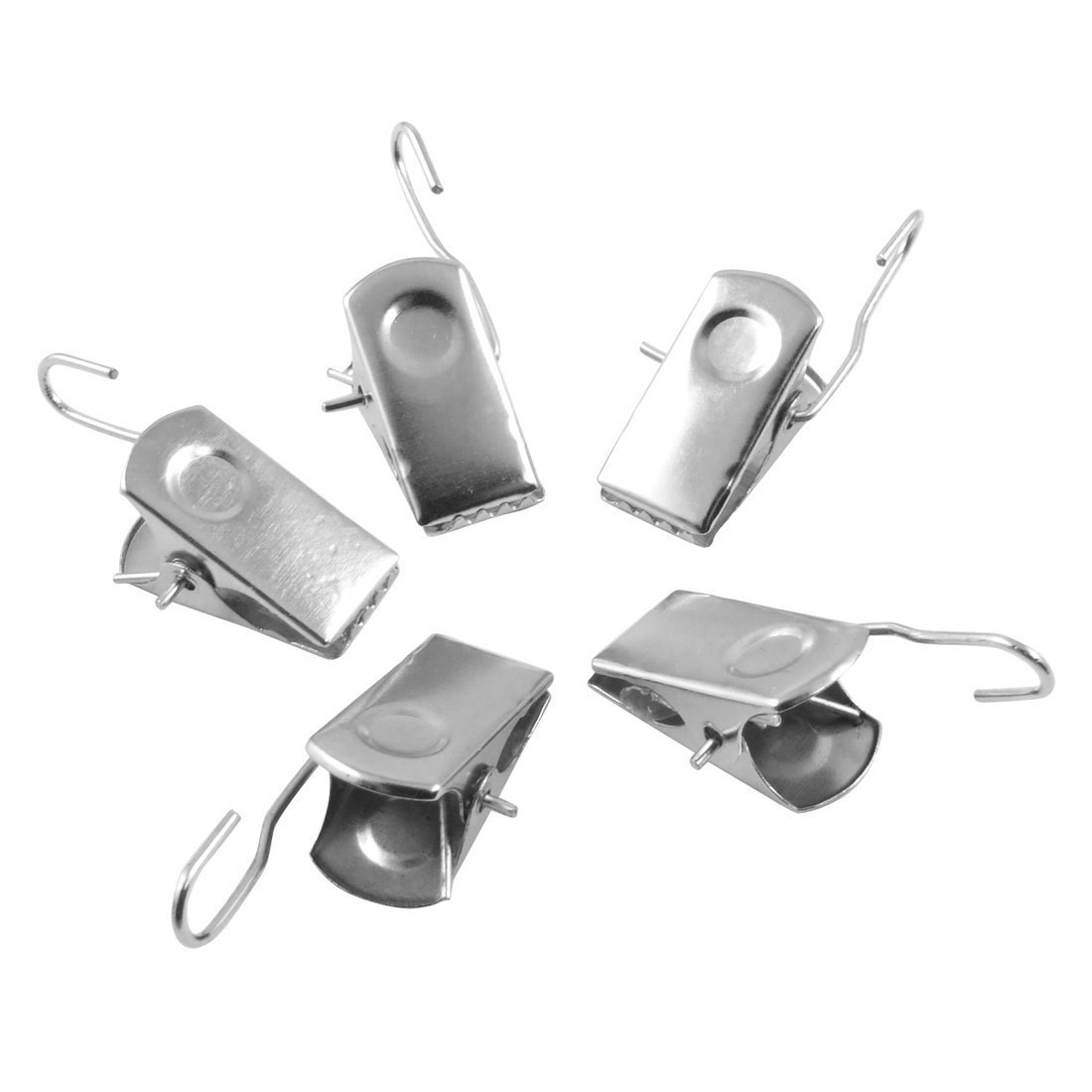 20 Pcs Metal Silver Tone Sprung Hook Metal Clip Clamps Curtain Drapery Clips, posted from London by Fat-catz-copy-catz 20 clips