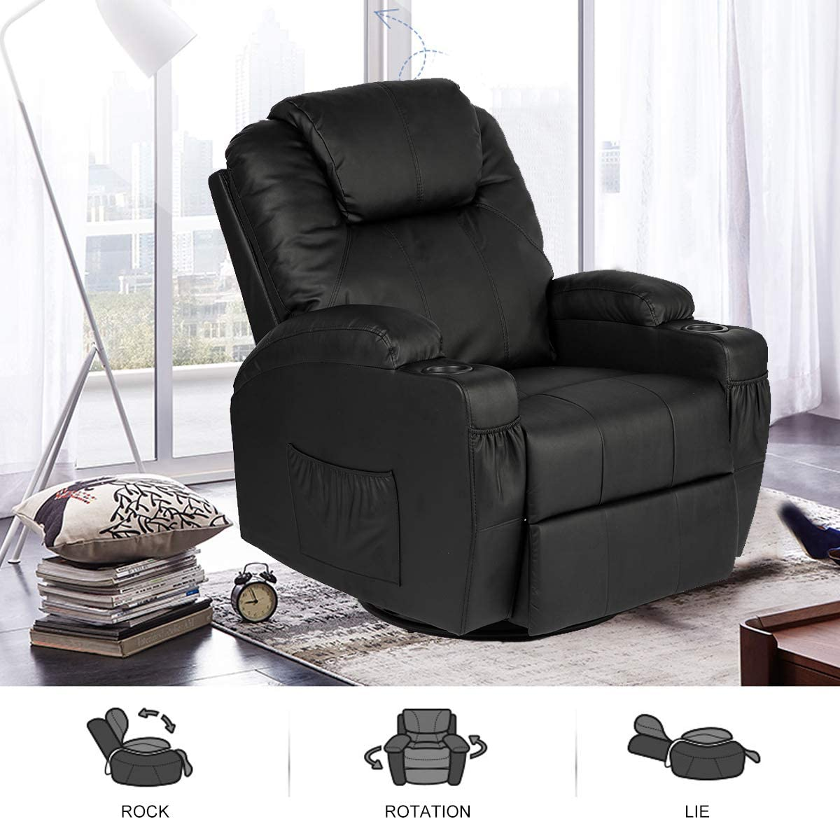 BaoChen Massage Recliner Chair Heated PU Leather Ergonomic Lounge Control 360 Degree Swivel Black