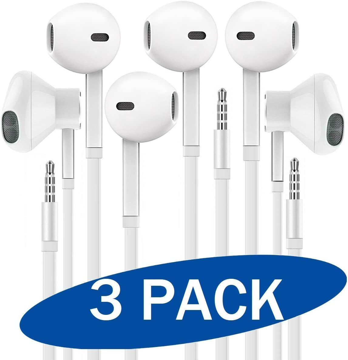 Headphones with Microphone, Certified XPOWER in-Ear 3.5mm Noise Isolating Earphones Sport Headset for Laptop Tablet Android Smartphones (White) 3-Pack