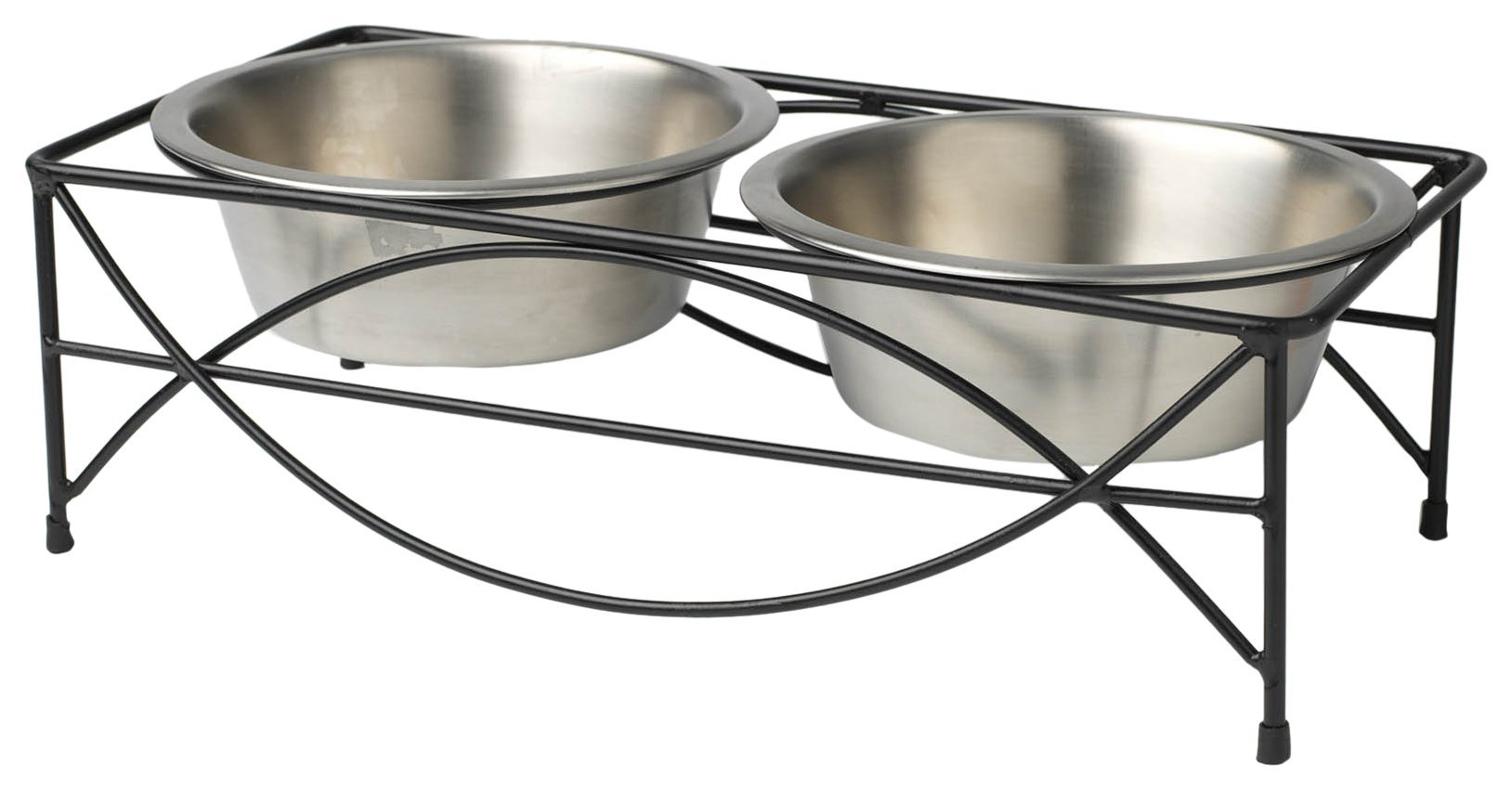 PetRageous 16.5 Cups Jamaica Pet Diner Black Powder Coated with Brushed Stainless Steel Bowls