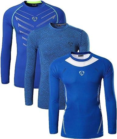 jeansian Hombre 3 Packs Athletic Secado Rapido Deportes Camiseta Manga Larga T-Shirt tee LA184 Pack: Amazon.es: Ropa y accesorios