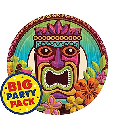 "AmscanTropical Tiki Party Dessert Plates, 7"", 60 Ct.: Kitchen & Dining"