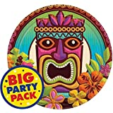 """Sun-Sational Summer Luau Party Tropical Tiki Round Plates Tableware, Paper, 7"""", Pack of 60"""